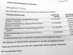 Bescheid Stromkostenerstattung