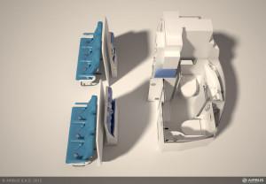Space Flex-Toilettenkabine für Menschen mit Behinderungen im Flugzeug