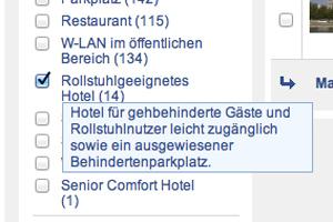 Screenshot Hotelsuche - rollstuhlgerechtes Hotel bei HRS.de