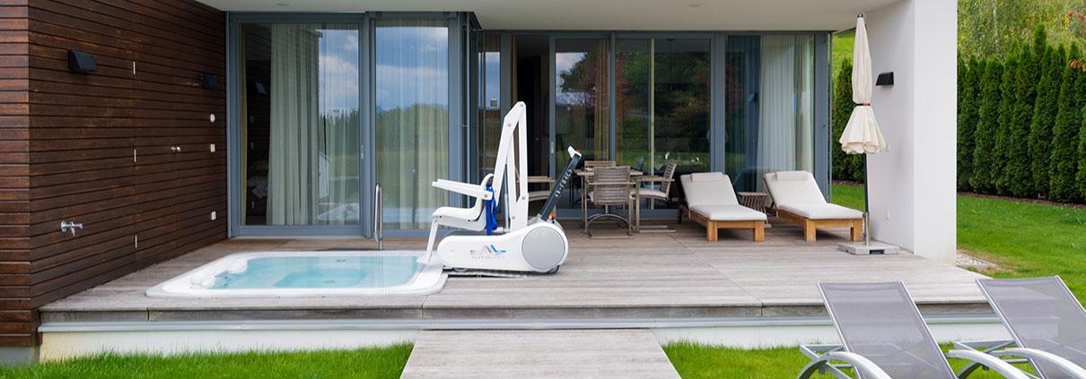 Außenansicht der Private SPA-Villa in Geinberg5 mit Whirlpool und Pool-Lifter